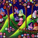 """Whimsical Houses and Trees"" by reniebritenbucher"