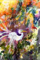 Great Egret Tending to Nest Watercolor by Ginette