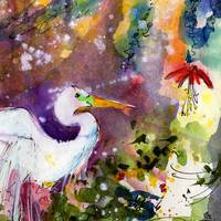 Egret Magic Original Painting by Ginette