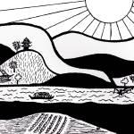 """Zen Sumi Paradise Garden Black Ink on White Canvas"" by Ricardos"