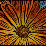 """Orange Flower Woodcut"" by SherylKaras"