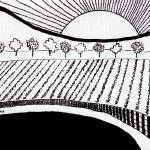 Zen Sumi Rising Sun Original Black Ink on White Ca