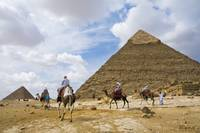 The camel riders of Khafre Pyramid