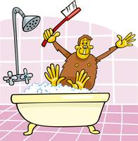 monkey in bath