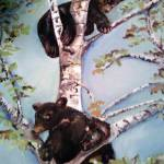 """Black Bears Cubs play in a tree"" by AmaliaJonas"