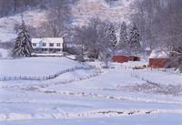 Winter Farmhouse and Barn - Matney near Valle Cruc