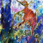 """Sea Dragon Watercolor Painting by Ginette"" by GinetteCallaway"