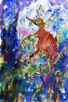 Sea Dragon Watercolor Painting by Ginette