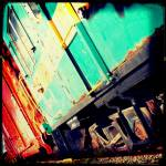"""Turquoise Train Cars"" by Crayonmonster"