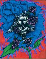 Blue Rose and Skull
