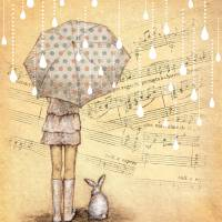 White Rain Symphony Art Prints & Posters by Yoshika EuphorianChic