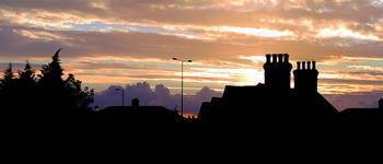 Panorama of an English Railway Cottage at Sunset