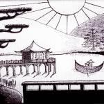 """Zen Lake Original Black Ink on White Canvas"" by Ricardos"