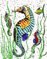 SeaHorses pen and ink plus watercolors