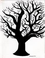 Zen Sumi Tree of Life Enhanced Black Ink on Canvas