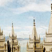 Salt Lake Temple (Lake View - No title) Art Prints & Posters by Bryce Gandy