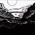 """""""Zen Sumi Midnight Mountain Lake Black Ink on White"""" by Ricardos"""