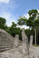 Three Stelae in Calakmul Mayan Ruins