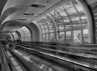 on the moving walkway bw
