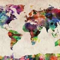 """World Map Urban Watercolor"" by ModernArtP"