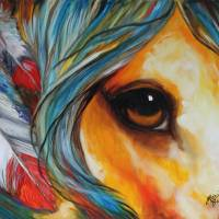 """SPIRIT EYE INDIAN WAR HORSE"" by MBaldwinFineArt2006"