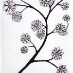 """Zen Sumi Flower Branch Black Ink on White Canvas"" by Ricardos"