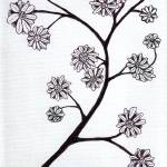 """Zen Sumi Flower Branch Black Ink on White Canvas"" by Ricardos"