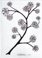 Zen Sumi Flower Branch Black Ink on White Canvas