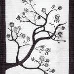 """Zen Sumi Bush Original Black Ink on White Canvas"" by Ricardos"