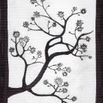 """Zen Sumi Bush Original Black Ink on White Canvas"" by Ricardos"