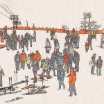 """Skiing in Korea"" by mariozuccaillustration"
