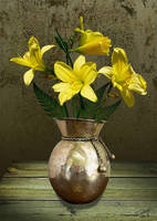 Lemon Daylilies and Brass Vase