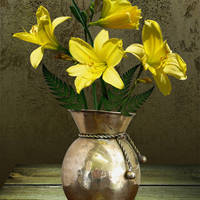 Lemon Daylilies and Brass Vase by I.M. Spadecaller