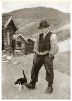 A man and a cat in a mountain village