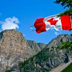 """Canadian Flag over Moraine"" by C_Rivait"