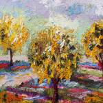 """Gold Chain Trees Garden Oil Painting by Ginette"" by GinetteCallaway"