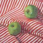 """Granny Smith on Striped Cloth"" by margaret-aycock"