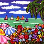"""Whimsical Beach Scene With Umbrellas"" by reniebritenbucher"