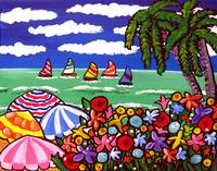 Whimsical Beach Scene With Umbrellas