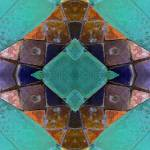 """turquoise orange tiles"" by DonnaGrayson"