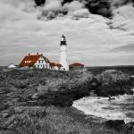 """Clouds over Portland Head Lighthouse (B&W)"" by FordLou"