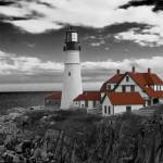 """Clouds over Portland Head Lighthouse 3 (B&W)"" by FordLou"