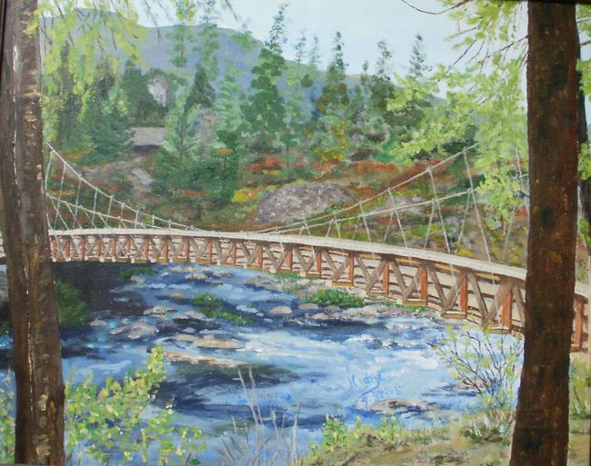 Love paintings swinging bridge damn
