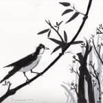 """""""Zen Sumi Bird 1a Black Ink on Watercolor Paper"""" by Ricardos"""