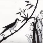 """Zen Sumi Bird 1a Black Ink on Watercolor Paper"" by Ricardos"
