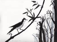 Zen Sumi Bird 1a Black Ink on Watercolor Paper