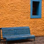 """Orange Wall, Blue Bench- Buenos Aires, Argentina"" by mjphoto-graphics"