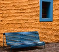 Orange Wall, Blue Bench- Buenos Aires, Argentina