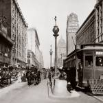 """Market and Powell, Hayes Trolley-Sepia"" by worldwidearchive"