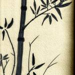 """Zen Sumi Antique Bamboo 1a Black Ink on Watercolor"" by Ricardos"